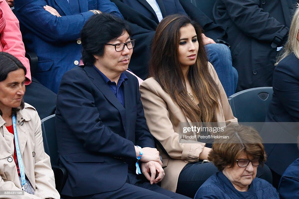 Jean Vincent Place and guest attend the French Tennis Open Day 8 at Roland Garros on May 29, 2016 in Paris, France.
