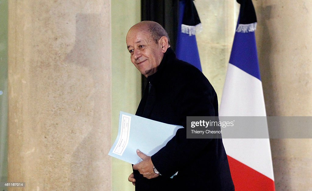 Jean -Yves Le Drian, French Minister of Defence arrives at the Elysee Palace, on January 8, 2015 in Paris, France. Twelve people were killed yesterday including two police officers, as two gunmen opened fire at the offices of the French satirical publication Charlie Hebdo. French Police have made seven arrests in connection with the attack in which they have named two main suspects, brothers Cherif and Said Kouachi. A further blow to the country came this morning when a gunman killed a policewoman in the southern suburb of Montrouge.