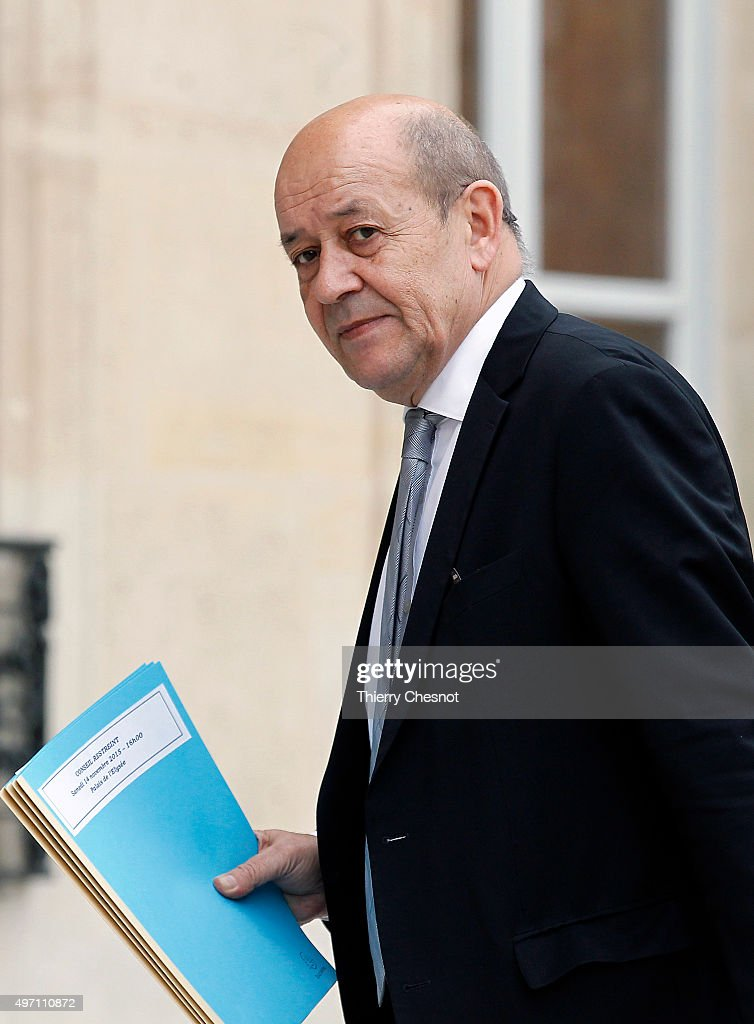 Jean -Yves Le Drian, French Minister of Defence arrives at the Elysee Palace in Paris for a crisis cabinet meeting on November 14, 2015 in Paris France. This meeting follows a series of coordinated attacks in and throughout Paris which left more than 120 people dead.