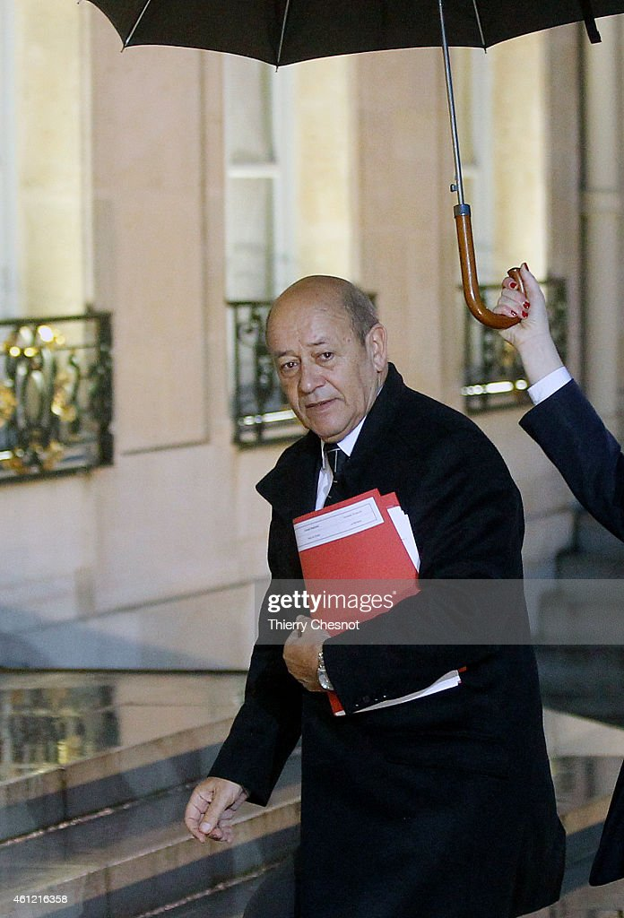 Jean -Yves Le Drian, French Minister of Defence arrives to attend a meeting at the Elysee Presidential Palace on January 9, 2015 in Paris, France. Two days after a deadly attack that occurred on January 7 by armed gunmen on the Paris offices of French satirical weekly newspaper Charlie Hebdo. France deployed elite forces in the hunt for two brothers accused of killing 12 people in the attack, as the pair spent a second night on the run despite a huge security operation.