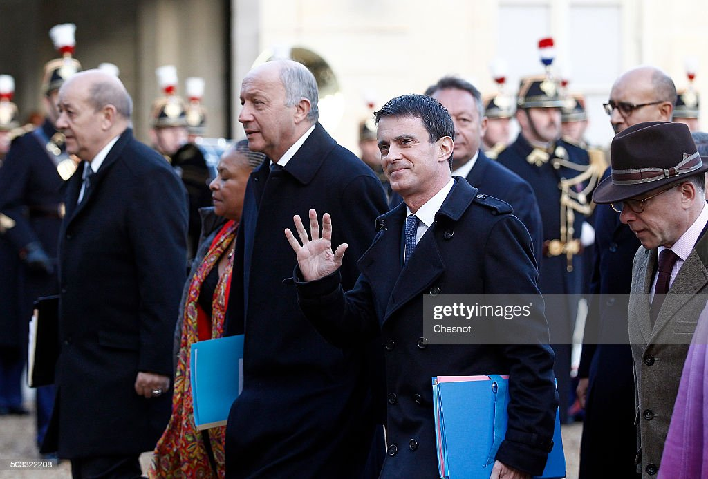 Jean -Yves Le Drian, French Minister of Defence, Laurent Fabius, French Minister of Foreign Affairs, French Prime minister, Manuel Valls and Bernard Cazeneuve, French Minister of the Interior arrive to attend the weekly cabinet meeting at the Elysee Presidential Palace on January 4, 2016 in Paris, France. It is the first cabinet meeting of the year 2016.