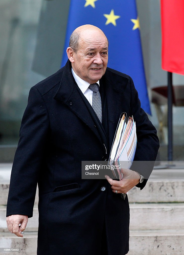 Jean -Yves Le Drian, French Minister of Defence leaves after a weekly cabinet meeting at the Elysee Presidential Palace on November 25, 2015 in Paris, France. Francois Hollande will meet German Chancellor Angela Merkel in the evening at the Elysee Palace.