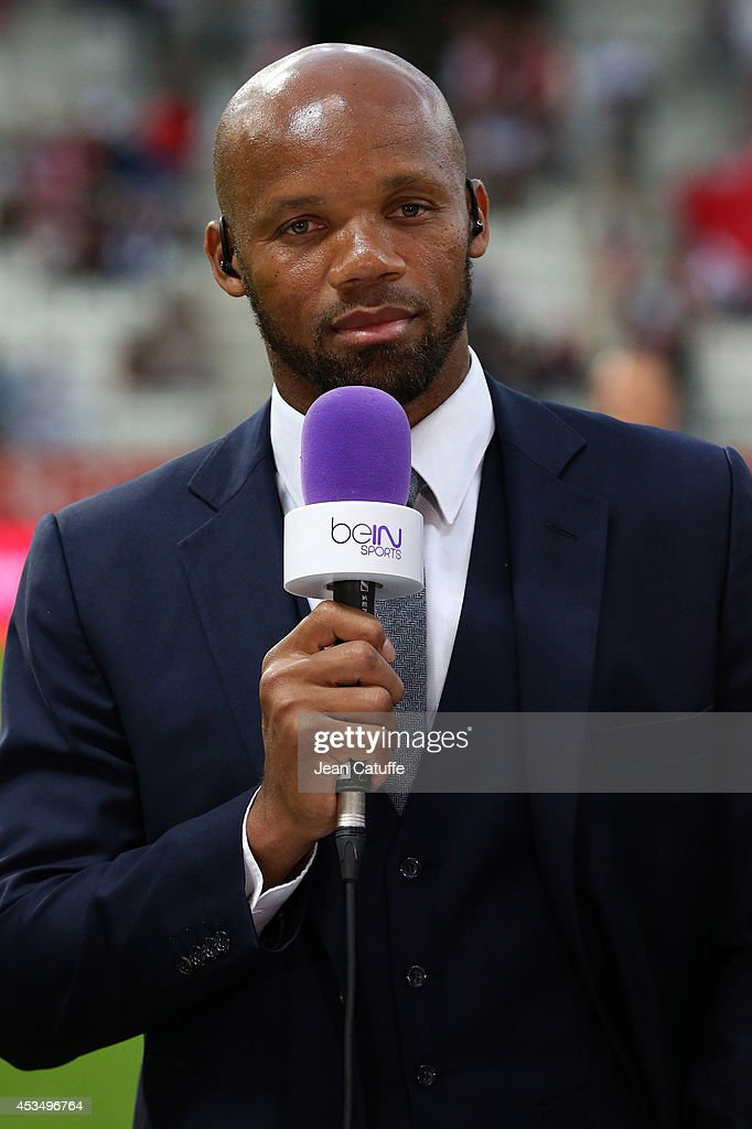 <a gi-track='captionPersonalityLinkClicked' href=/galleries/search?phrase=Jean-Alain+Boumsong&family=editorial&specificpeople=490879 ng-click='$event.stopPropagation()'>Jean-Alain Boumsong</a> comments for beIN Sports the French Ligue 1 match between Stade de Reims and Paris Saint Germain FC at the Stade Auguste Delaune on August 8, 2014 in Reims, France.