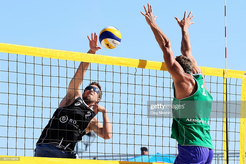 Jean-Baptiste Daguerre of France (L) attacks Aliaksandr Dziadkou of Belarus during FIVB Sochi Open presented by VTB - Day 1 on May 3, 2016 in Sochi, Russia.