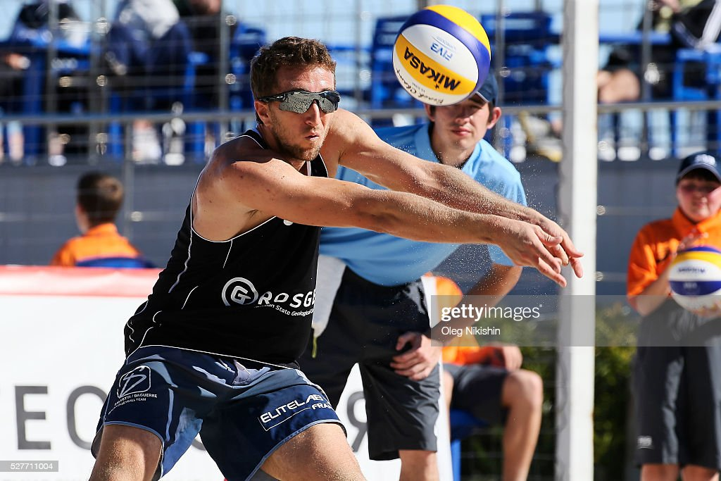 Jean-Baptiste Daguerre of France receives a ball during FIVB Sochi Open presented by VTB - Day 1 on May 3, 2016 in Sochi, Russia.