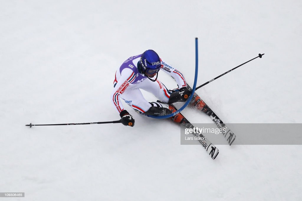 <a gi-track='captionPersonalityLinkClicked' href=/galleries/search?phrase=Jean-Baptiste+Grange&family=editorial&specificpeople=807801 ng-click='$event.stopPropagation()'>Jean-Baptiste Grange</a> of France skis on his way to winning the Men's Slalom during the Alpine FIS Ski World Championships on the Gudiberg course on February 20, 2011 in Garmisch-Partenkirchen, Germany.