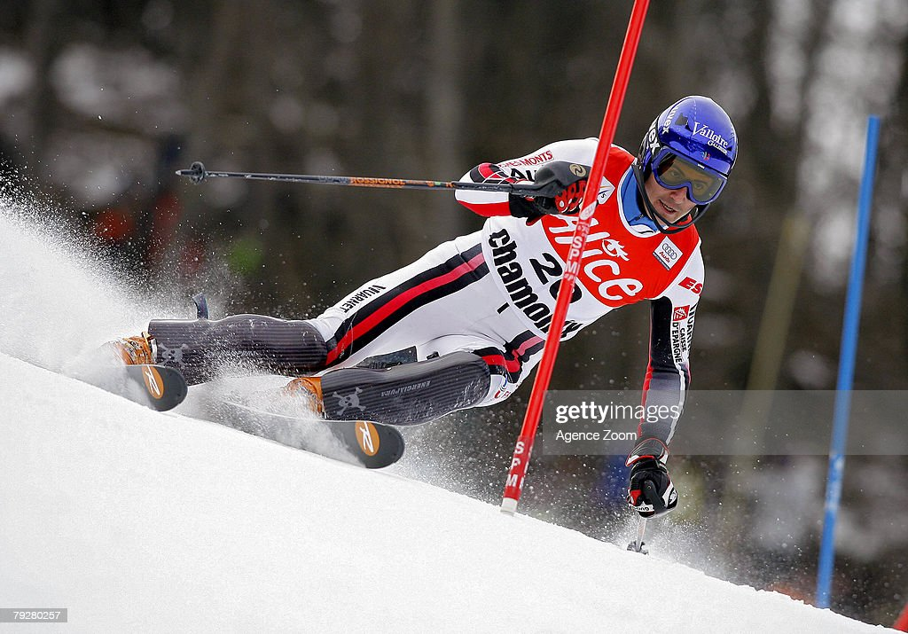 Jean-Baptiste Grange of France takes 6th place during the FIS Alpine ski World cup World Cup Men's Super Combined Downhill event on January 27, 2008 in Chamonix, France.