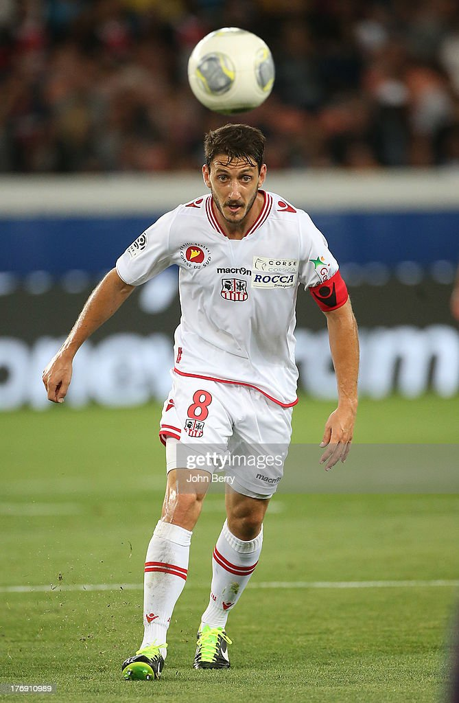 Jean-Baptiste Pierazzi of AC Ajaccio in action during the Ligue 1 match between Paris Saint Germain FC and AC Ajaccio at the Parc des Princes stadium on August 18, 2013 in Paris, France.