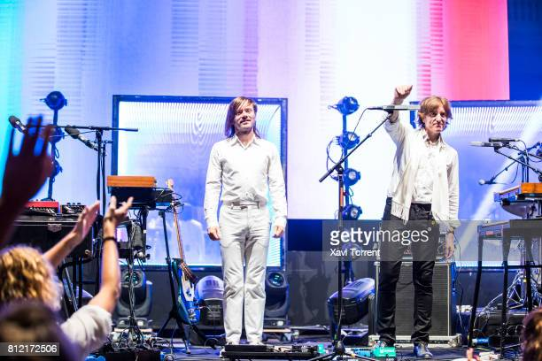 JeanBenoit Dunckel and Nicolas Godin of Air perform in concert during the Festival Jardins de Pedralbes on July 10 2017 in Barcelona Spain