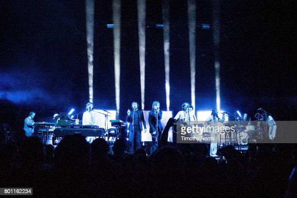 JeanBenoit Dunckel Beck Jason Flaukner Nicolas Godin and Justin MeldalJohnsen perform with Air at The Greek Theatre on June 25 2017 in Los Angeles...