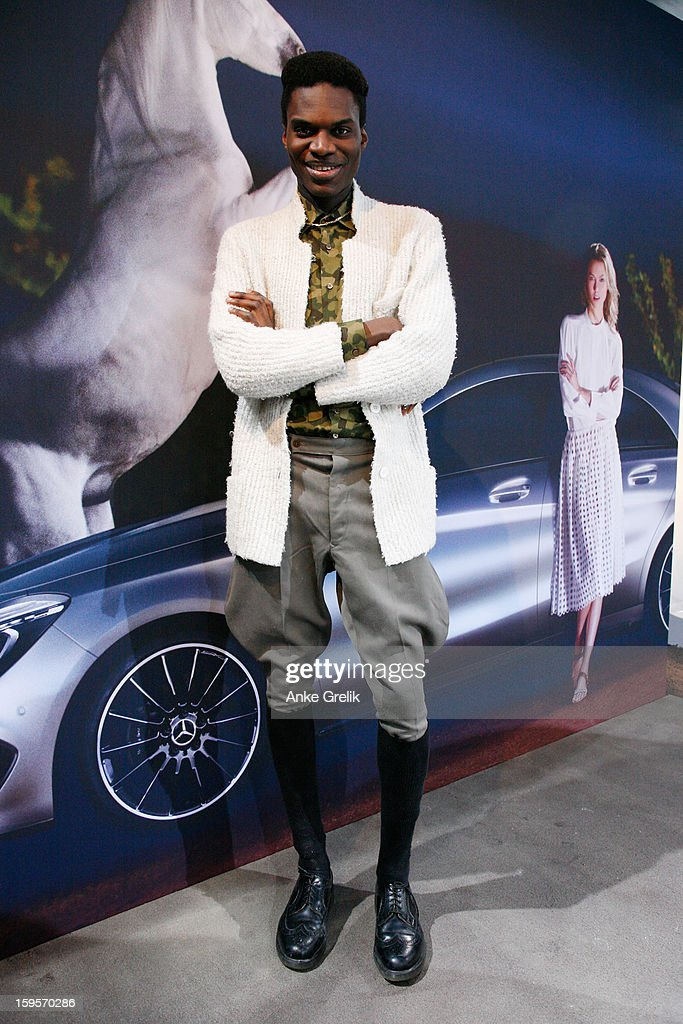 Jean-Cedric wearing Zara shirt attends Mercedes-Benz Fashion Week Autumn/Winter 2013/14 at the Brandenburg Gate on January 16, 2013 in Berlin, Germany.