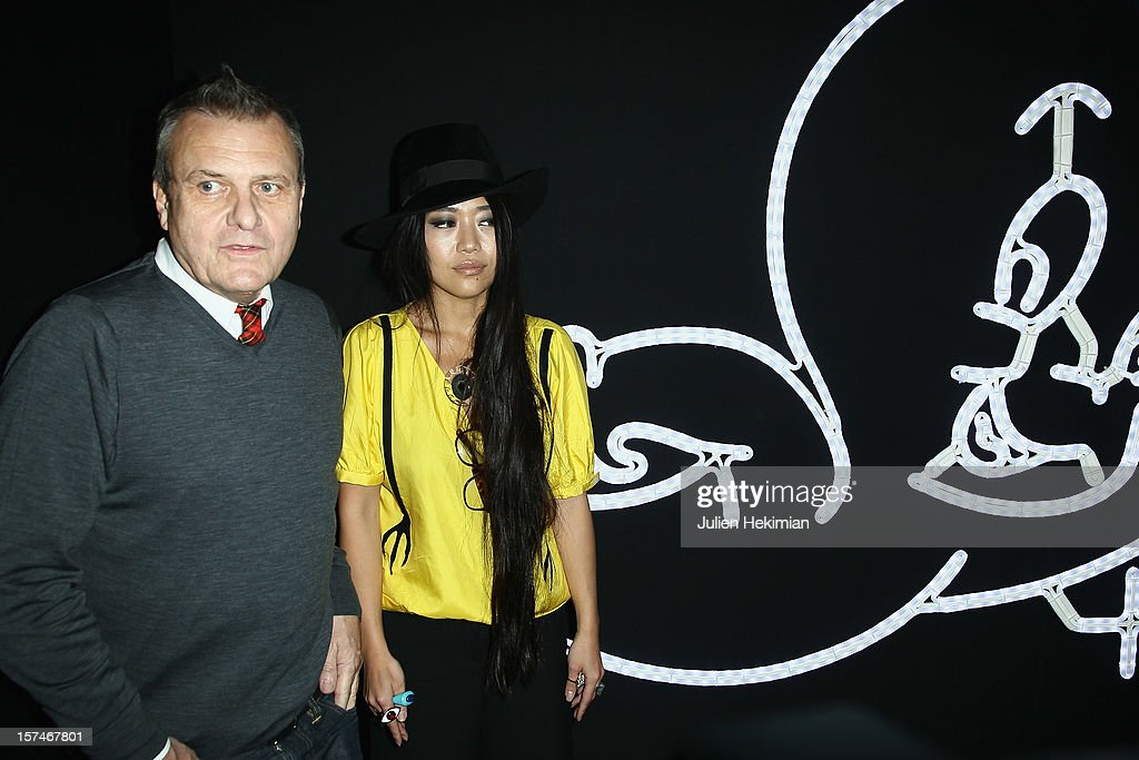 Jean-Charles de Castelbajac and Ai Kanno attend the 17th edition of 'Les Sapins de noel des createurs' at Hotel Salomon de Rothschild on December 3, 2012 in Paris, France.
