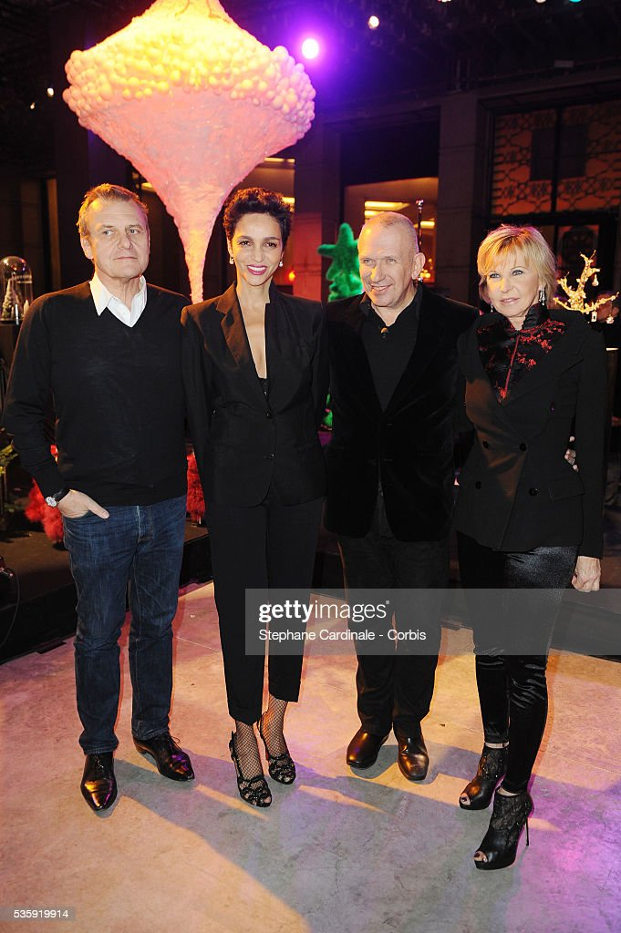 Jean-Charles de Castelbajac, Farida Khelfa, Jean-Paul Gaultier and Marie Christiane Marek attend 'Les Sapins de Noel des Createurs' in Paris.