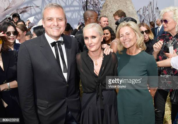 JeanCharles de Castelbajac Stylist Maria Grazia Chiuri and Claire Chazal pose backstage after the Christian Dior Haute Couture Fall/Winter 20172018...