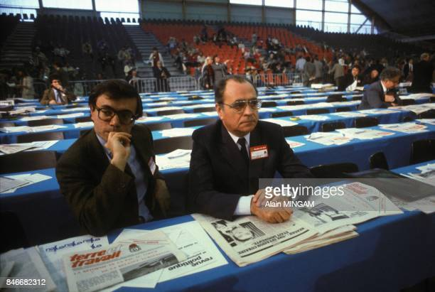 JeanCharles Naouri left and Pierre Beregovoy at French Socialist party congress in BourgenBresse on October 29 1983 in BourgenBresse France