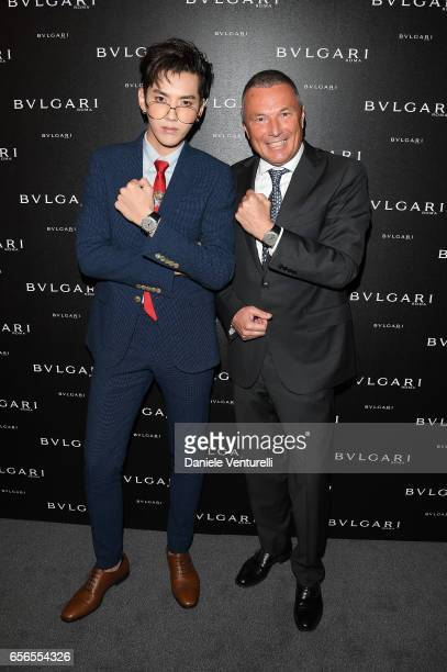 JeanChristophe Babin and Kris Wu attend Bvlgari Cocktail At Baselworld 2017 on March 22 2017 in Basel Switzerland