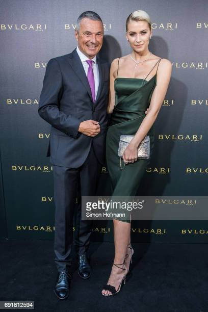 JeanChristophe Babin CEO of Bulgari and Lena Gercke attend the Bulgari Boutique Opening at Bulgari Boutique on June 1 2017 in Frankfurt am Main...