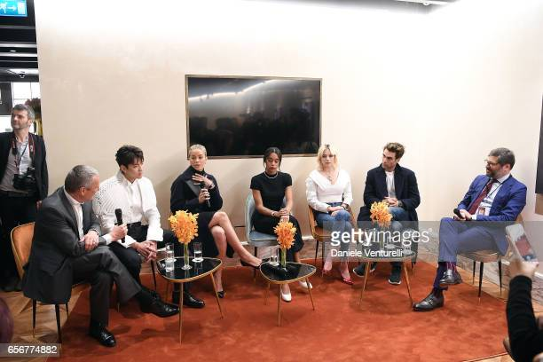 JeanChristophe Babin Kris Wu Jasmine Sanders Laura Harrier Caroline Vreeland Jon Kortajarena and Guido Terreni attend Bvlgari press Breakfast At...