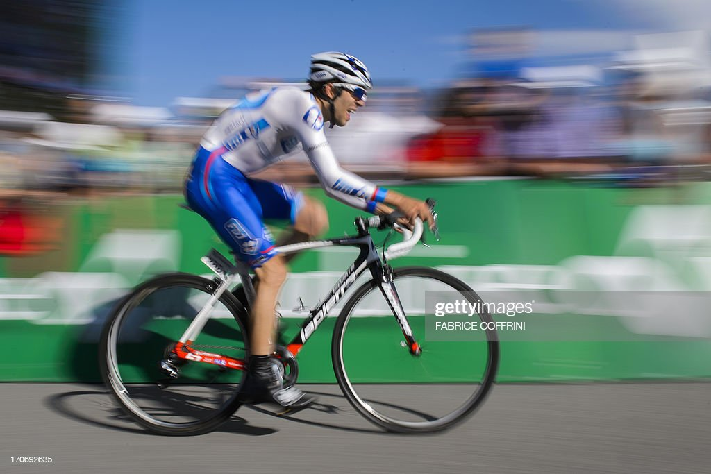 Jean-Christophe Peraud of France rides during the final stage of Tour of Switzerland, a 26,8 km time trial between Bad Ragaz and Flumserberg on June 16, 2013.
