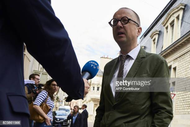 JeanChristophe Tymoczko the lawyer of the cousin of Murielle Bolle speaks to the press as he arrives at the Court of Appeal in Dijon on July 28 2017...