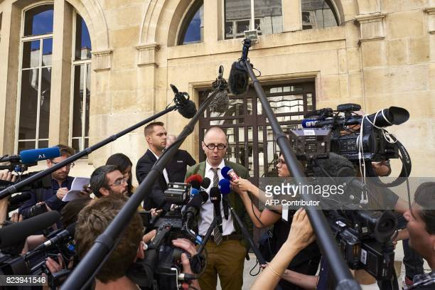JeanChristophe Tymoczko the lawyer of the key witness' cousin addresses the media outside the courthouse of Dijon on July 28 2017 Murielle Bolle a...