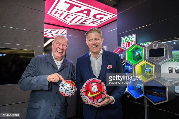 JeanClaude Biver and Peter Schmeichel announce TAG Heuer as the Official Timekeeper of The Premier League on April 26 2016 in London England