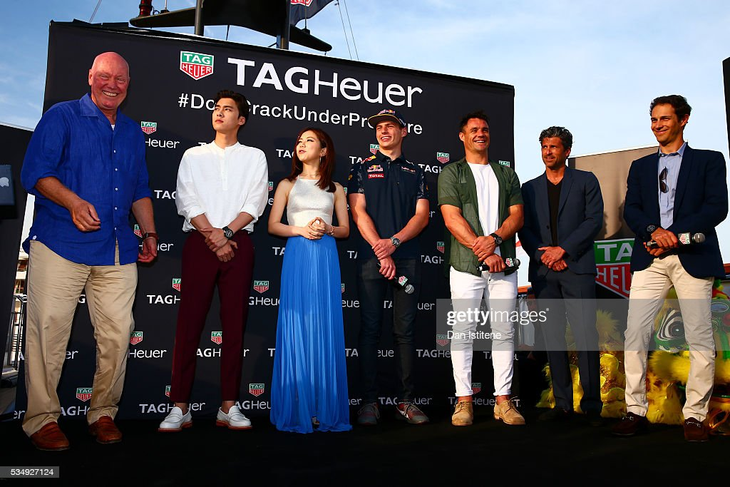 Jean-Claude Biver, CEO of TAG Heuer, actor Li Yifeng, singer G.E.M., <a gi-track='captionPersonalityLinkClicked' href=/galleries/search?phrase=Max+Verstappen&family=editorial&specificpeople=12813205 ng-click='$event.stopPropagation()'>Max Verstappen</a> of Netherlands and Red Bull Racing, <a gi-track='captionPersonalityLinkClicked' href=/galleries/search?phrase=Dan+Carter&family=editorial&specificpeople=171299 ng-click='$event.stopPropagation()'>Dan Carter</a>, <a gi-track='captionPersonalityLinkClicked' href=/galleries/search?phrase=Patrick+Dempsey&family=editorial&specificpeople=241264 ng-click='$event.stopPropagation()'>Patrick Dempsey</a> and <a gi-track='captionPersonalityLinkClicked' href=/galleries/search?phrase=Bruno+Senna&family=editorial&specificpeople=709024 ng-click='$event.stopPropagation()'>Bruno Senna</a> attend a TAG Heuer event in Port Hercue de Monaco on May 28, 2016 in Monaco, Monaco.