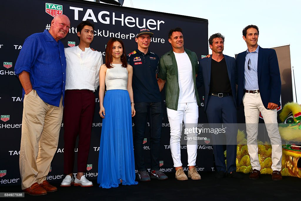 Jean-Claude Biver, CEO of TAG Heuer, actor Li Yifeng, singer G.E.M., <a gi-track='captionPersonalityLinkClicked' href=/galleries/search?phrase=Max+Verstappen&family=editorial&specificpeople=12813205 ng-click='$event.stopPropagation()'>Max Verstappen</a> of Netherlands and Red Bull Racing, <a gi-track='captionPersonalityLinkClicked' href=/galleries/search?phrase=Dan+Carter+-+Rugby+Player&family=editorial&specificpeople=171299 ng-click='$event.stopPropagation()'>Dan Carter</a>, <a gi-track='captionPersonalityLinkClicked' href=/galleries/search?phrase=Patrick+Dempsey&family=editorial&specificpeople=241264 ng-click='$event.stopPropagation()'>Patrick Dempsey</a> and <a gi-track='captionPersonalityLinkClicked' href=/galleries/search?phrase=Bruno+Senna&family=editorial&specificpeople=709024 ng-click='$event.stopPropagation()'>Bruno Senna</a> attend a TAG Heuer event in Port Hercue de Monaco on May 28, 2016 in Monaco, Monaco.