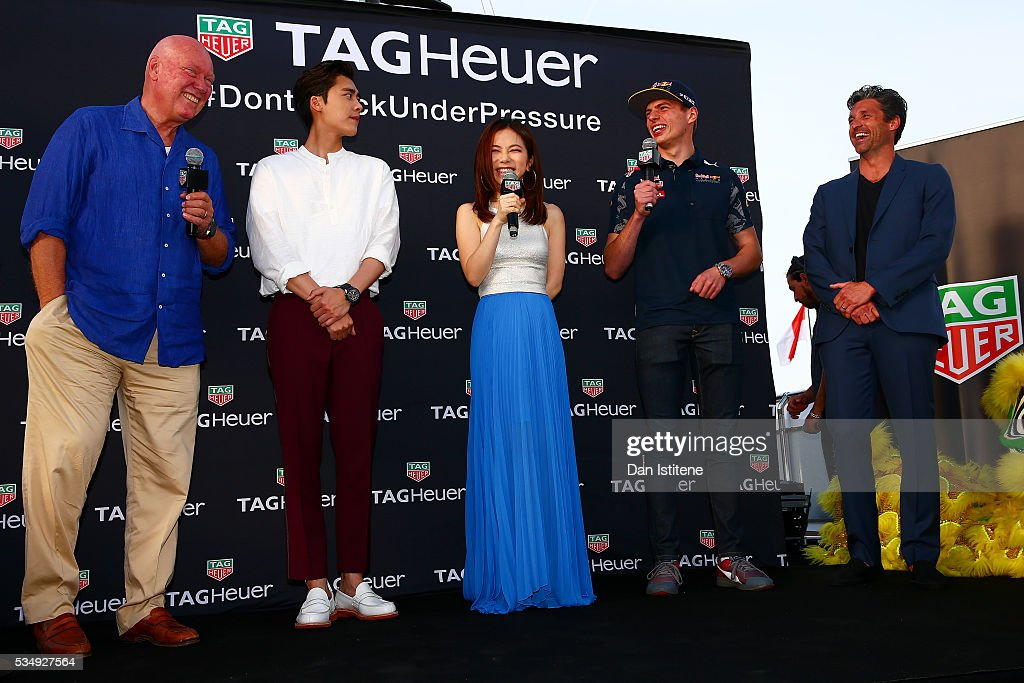 Jean-Claude Biver, CEO of TAG Heuer, actor Li Yifeng, singer G.E.M., <a gi-track='captionPersonalityLinkClicked' href=/galleries/search?phrase=Max+Verstappen&family=editorial&specificpeople=12813205 ng-click='$event.stopPropagation()'>Max Verstappen</a> of Netherlands and Red Bull Racing and <a gi-track='captionPersonalityLinkClicked' href=/galleries/search?phrase=Patrick+Dempsey&family=editorial&specificpeople=241264 ng-click='$event.stopPropagation()'>Patrick Dempsey</a> attend a TAG Heuer event in Port Hercue de Monaco on May 28, 2016 in Monaco, Monaco.