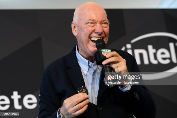 JeanClaude Biver CEO of TAG Heuer and President of the LVMH Watch Division talks to the media duirng a press conference at the international launch...