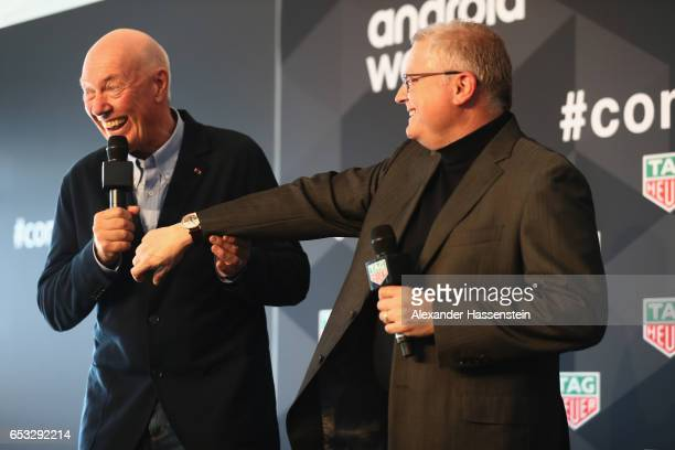 JeanClaude Biver CEO of TAG Heuer and President of the LVMH Watch Division talks to Josh Walden Senior Vice President and Genral manger New...