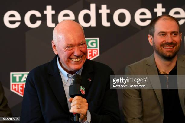 JeanClaude Biver CEO of TAG Heuer and President of the LVMH Watch Division smiles duirng a press conference at the international launch of the TAG...