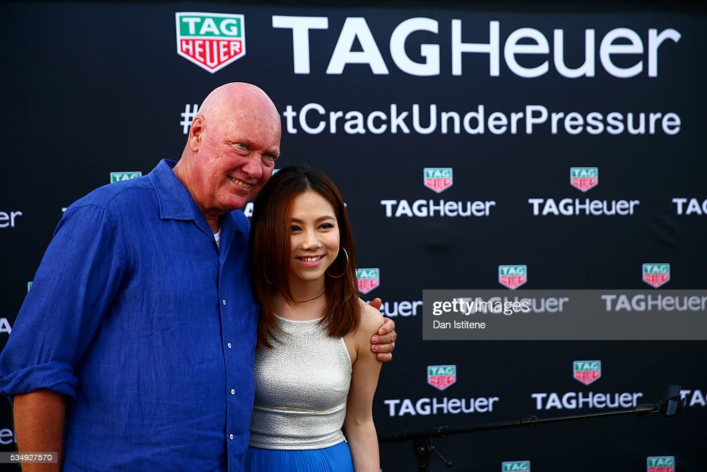Jean-Claude Biver, CEO of TAG Heuer poses with G.E.M. at a TAG Heuer event in Port Hercue de Monaco on May 28, 2016 in Monaco, Monaco.