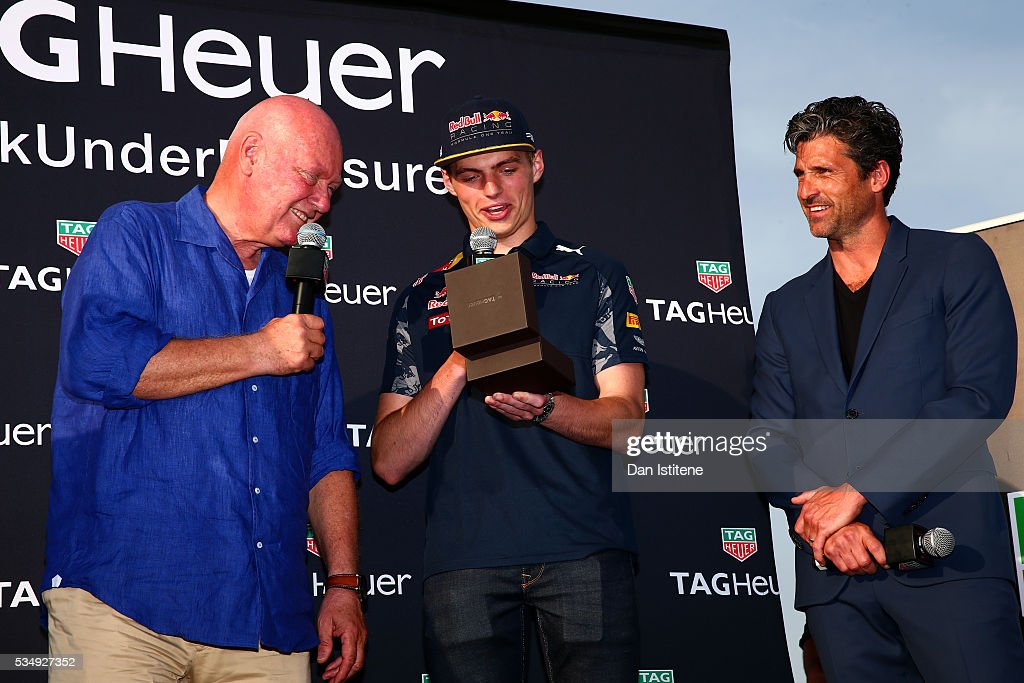 Jean-Claude Biver, CEO of TAG Heuer presents <a gi-track='captionPersonalityLinkClicked' href=/galleries/search?phrase=Max+Verstappen&family=editorial&specificpeople=12813205 ng-click='$event.stopPropagation()'>Max Verstappen</a> of Netherlands and Red Bull Racing with a new watch next to <a gi-track='captionPersonalityLinkClicked' href=/galleries/search?phrase=Patrick+Dempsey&family=editorial&specificpeople=241264 ng-click='$event.stopPropagation()'>Patrick Dempsey</a> at a TAG Heuer event in Port Hercue de Monaco on May 28, 2016 in Monaco, Monaco.
