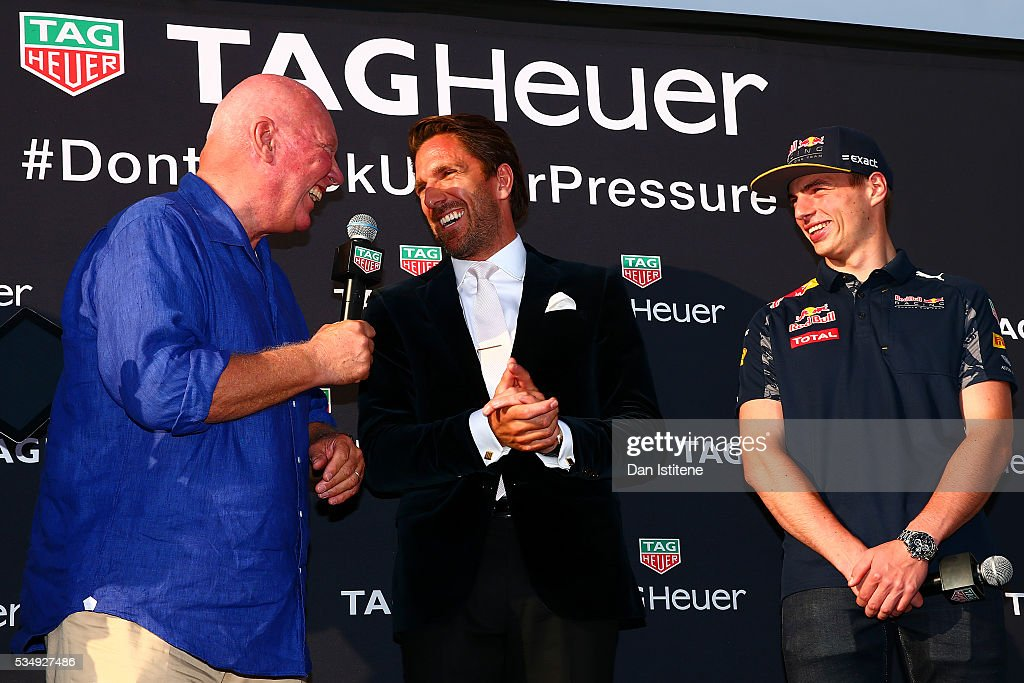 Jean-Claude Biver, CEO of TAG Heuer speaks with <a gi-track='captionPersonalityLinkClicked' href=/galleries/search?phrase=Henrik+Lundqvist&family=editorial&specificpeople=217958 ng-click='$event.stopPropagation()'>Henrik Lundqvist</a> of the New York Rangers and <a gi-track='captionPersonalityLinkClicked' href=/galleries/search?phrase=Max+Verstappen&family=editorial&specificpeople=12813205 ng-click='$event.stopPropagation()'>Max Verstappen</a> of Netherlands and Red Bull Racing at a TAG Heuer event in Port Hercue de Monaco on May 28, 2016 in Monaco, Monaco.