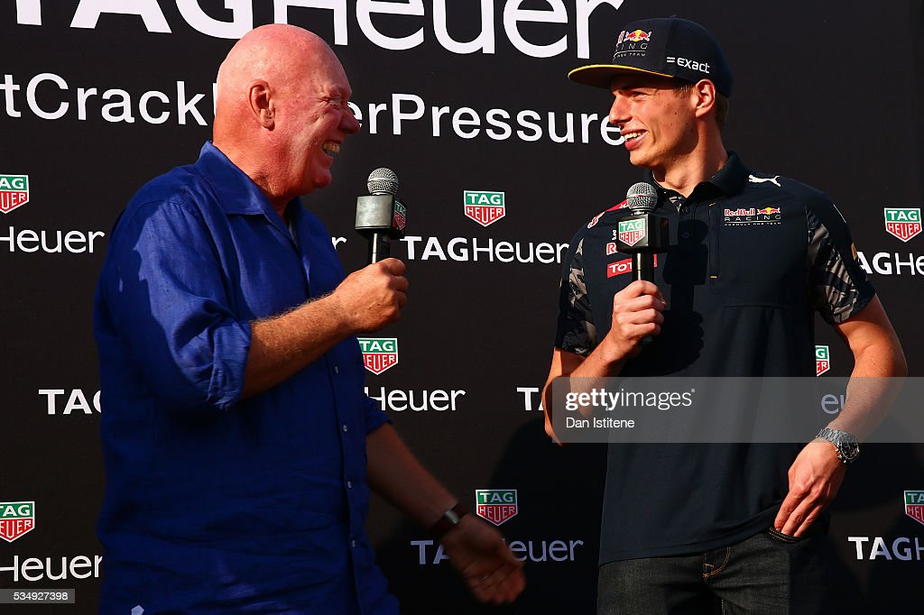 Jean-Claude Biver, CEO of TAG Heuer speaks with <a gi-track='captionPersonalityLinkClicked' href=/galleries/search?phrase=Max+Verstappen&family=editorial&specificpeople=12813205 ng-click='$event.stopPropagation()'>Max Verstappen</a> of Netherlands and Red Bull Racing at a TAG Heuer event in Port Hercue de Monaco on May 28, 2016 in Monaco, Monaco.