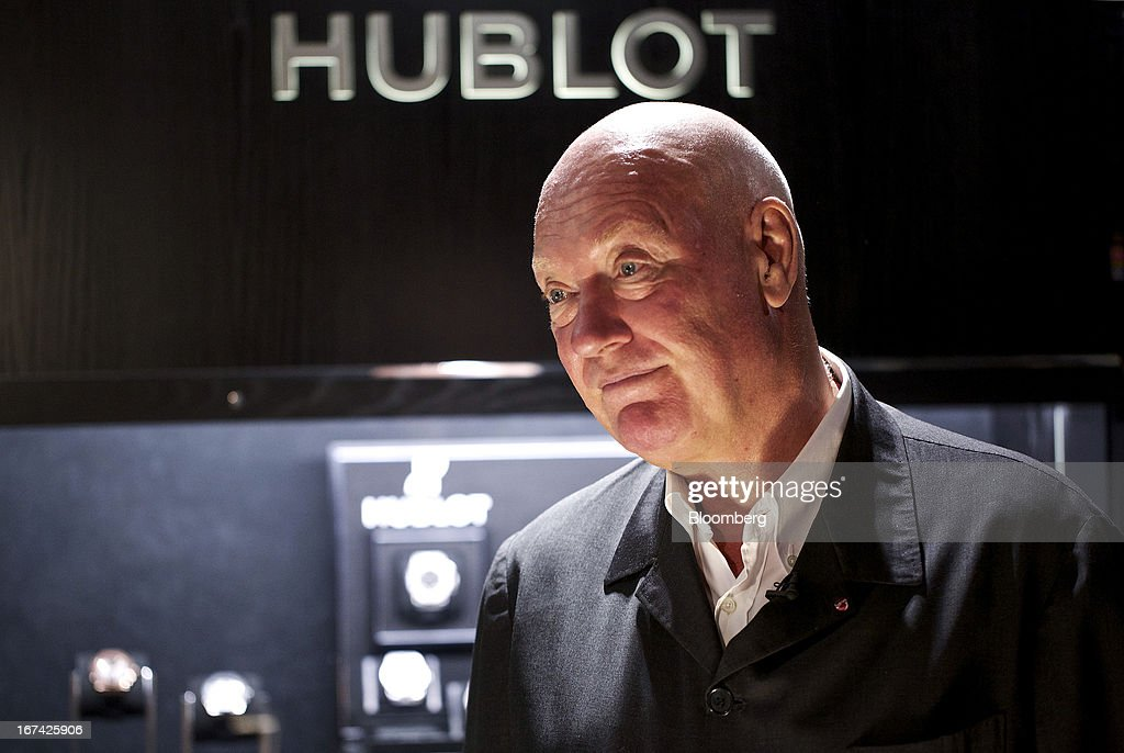 Jean-Claude Biver, chairman of Hublot SA, a watchmaking unit of LVMH Moet Hennessy Louis Vuitton SA, pauses during a Bloomberg television interview at the Baselworld watch fair in Basel, Switzerland, on Thursday, April 25, 2013. The annual fair attracts 2,000 companies from the watch, jewelry and gem industries to show their new wares to more than 100,000 visitors. Photographer: Gianluca Colla/Bloomberg via Getty Images