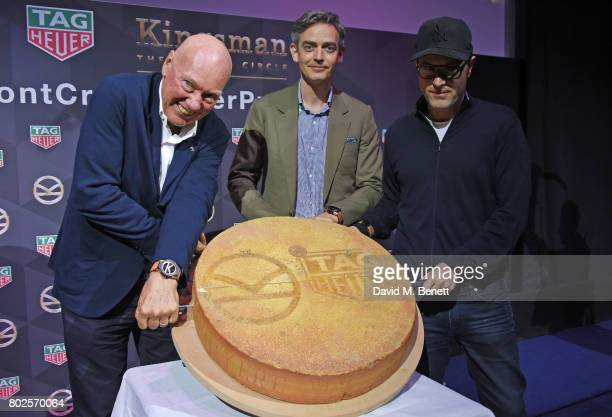 JeanClaude Biver TAG Heuer CEO and President of the LVMH Watch Division Toby Bateman Managing Director of Mr Porter and director Matthew Vaughn...