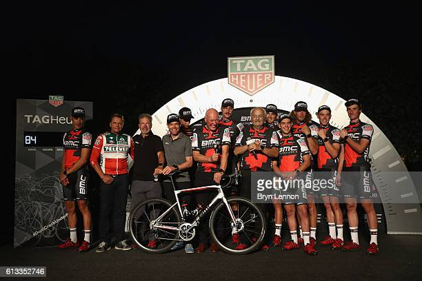 JeanClaude Biver TAG Heuer CEO Andy Rihs Proprietaire du BMC Racing Team and Jim Ochowicz President General Manager du BMC Racing Team pose with...