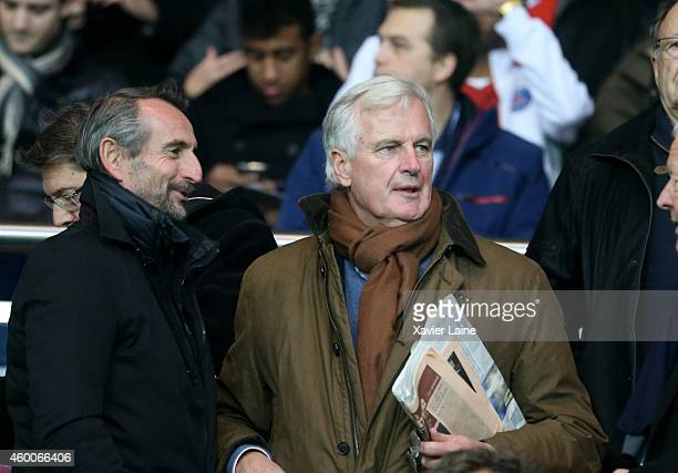 JeanClaude Blanc and Michel Barnier attend the French Ligue 1 between Paris SaintGermain FC and FC Nantes at Parc Des Princes on December 06 2014 in...
