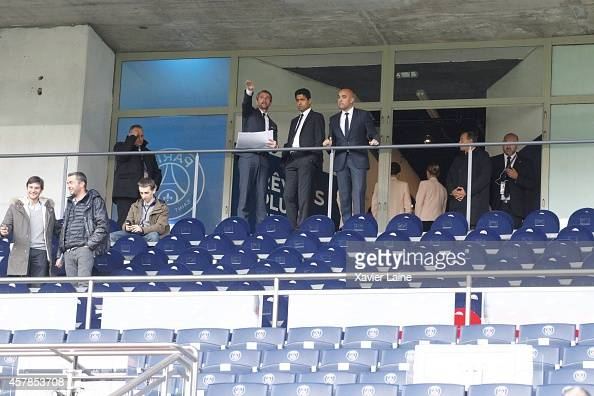 JeanClaude Blanc and Paris SaintGermain's president Nasser AlKhelaifi watch the work of the stadium before the French Ligue 1 between Paris...