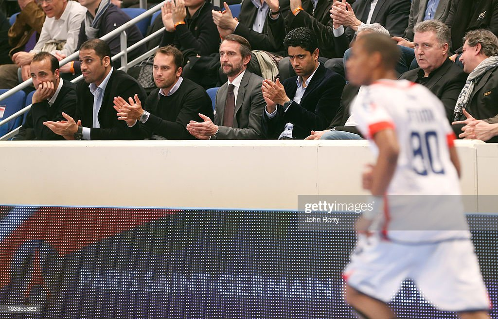 Jean-Claude Blanc, director of PSG and Nasser Al-Khelaifi (president of PSG, football and handball) watch the handball's Division 1 match between Paris Saint-Germain Handball and Dunkerque at the Stade Pierre de Coubertin on March 7, 2013 in Paris, France.