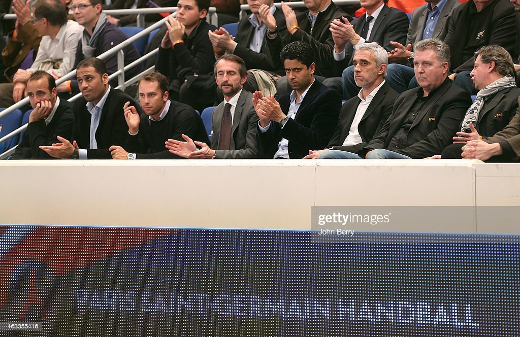 Jean-Claude Blanc, director of PSG, Nasser Al-Khelaifi (president of PSG, football and handball) and Philippe Bernat-Salles (president of the french Handball National League) watch the handball's Division 1 match between Paris Saint-Germain Handball and Dunkerque at the Stade Pierre de Coubertin on March 7, 2013 in Paris, France.