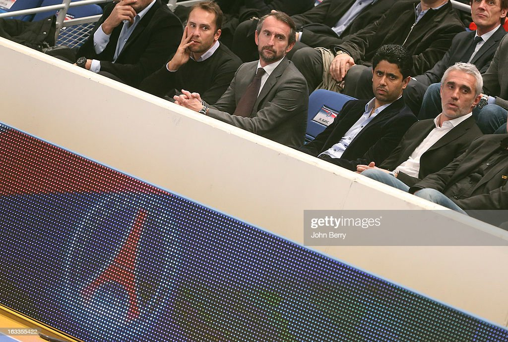 Jean-Claude Blanc, director of PSG, <a gi-track='captionPersonalityLinkClicked' href=/galleries/search?phrase=Nasser+Al-Khelaifi&family=editorial&specificpeople=7941556 ng-click='$event.stopPropagation()'>Nasser Al-Khelaifi</a> (president of PSG, football and handball) and <a gi-track='captionPersonalityLinkClicked' href=/galleries/search?phrase=Philippe+Bernat-Salles&family=editorial&specificpeople=240097 ng-click='$event.stopPropagation()'>Philippe Bernat-Salles</a> (president of the french Handball National League) watch the handball's Division 1 match between Paris Saint-Germain Handball and Dunkerque at the Stade Pierre de Coubertin on March 7, 2013 in Paris, France.