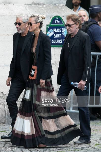 JeanClaude Darmon Laeticia Hallyday and singer Johnny Hallyday attend actress Mireille Darc's Funeral at Eglise SaintSulpice on September 1 2017 in...