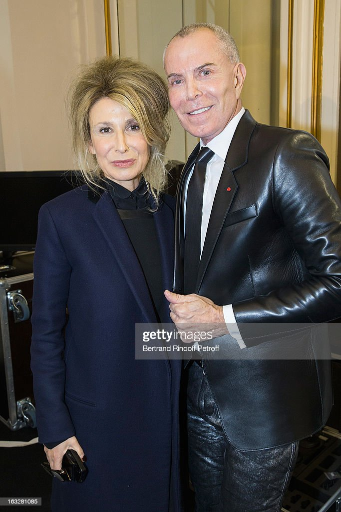 Jean-Claude Jitrois (R) and Anne-Florence Schmitt attend the Jitrois Fall/Winter 2013 Ready-to-Wear show as part of Paris Fashion Week on March 6, 2013 in Paris, France.