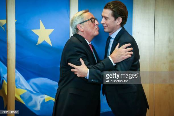 JeanClaude Juncker European Commission President welcomes Sebastian Kurz Austrian Minister of Foreign Affairs and leader of the Austrian people's...