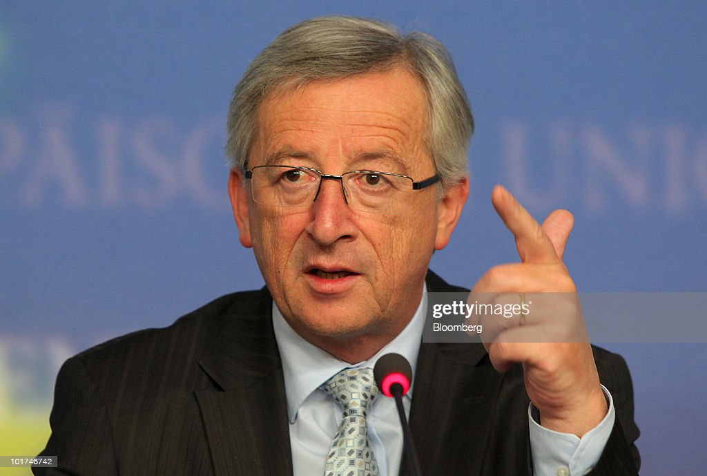 <a gi-track='captionPersonalityLinkClicked' href=/galleries/search?phrase=Jean-Claude+Juncker&family=editorial&specificpeople=207032 ng-click='$event.stopPropagation()'>Jean-Claude Juncker</a>, Luxembourg's prime minister and president of the Eurogroup, speaks at the press conference following the European Union finance ministers meeting in Luxembourg, on Monday, June 7, 2010. The euro's 21 percent tumble from last year's high has left the currency above the average level since its creation in 1999 and stronger than its predecessor, the deutsche mark. Photographer: Hannelore Foerster/Bloomberg via Getty Images