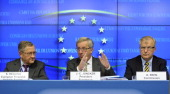 JeanClaude Juncker Luxembourg's prime minister and president of the Eurogroup center speaks during a press conference with Klaus Regling chief...