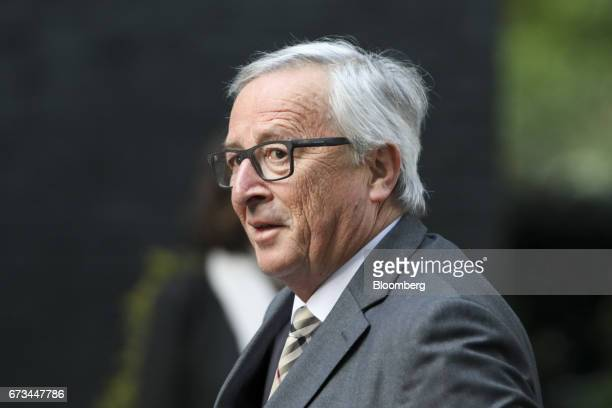JeanClaude Juncker president of the European Commission arrives at Downing Street in London UK on Wednesday April 26 2017 Maywill host the EU's...
